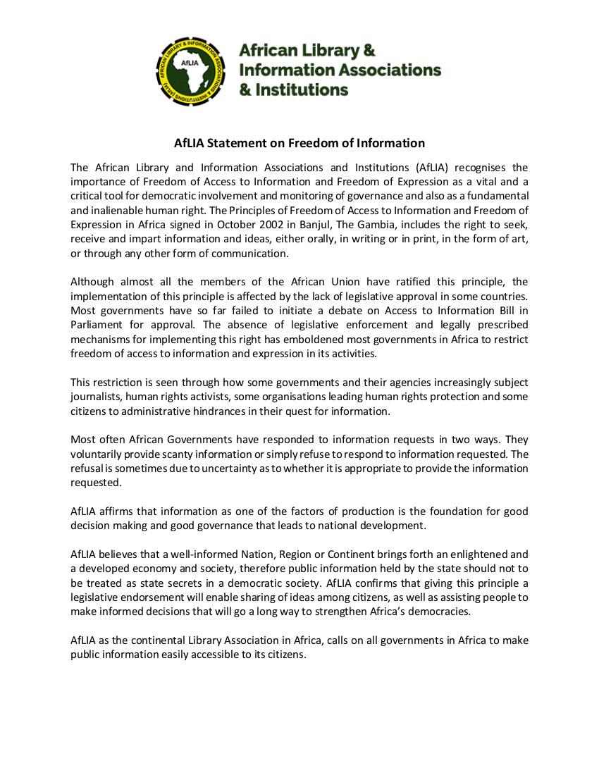 AfLIA Statement on Freedom of Information