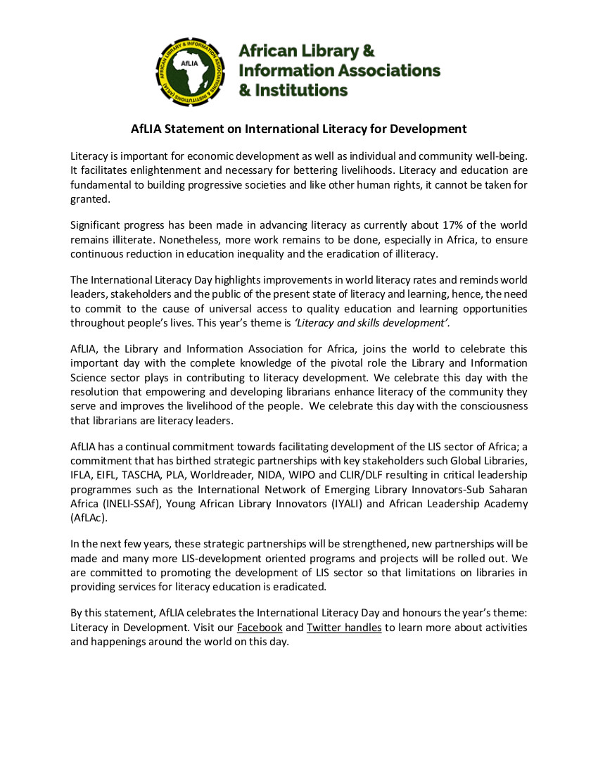 AfLIA Statement on International Literacy for Development