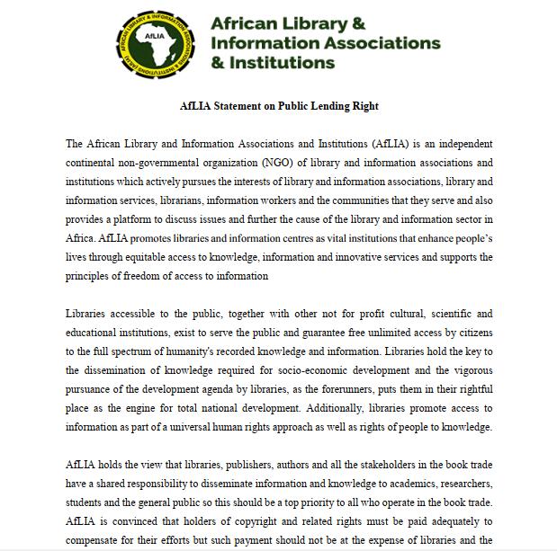 AfLIA Statement Public Lending Right
